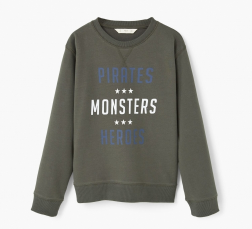 Mango Boys Printed Plush Cotton Sweatshirt