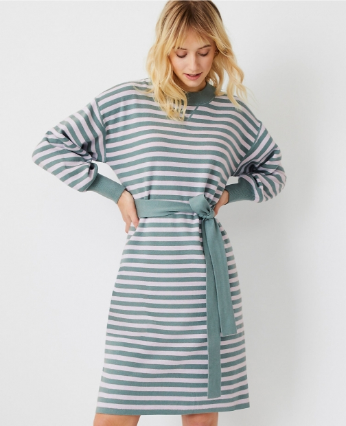 Ann Taylor Petite Striped Belted Sweater Dress