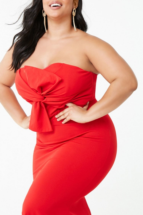 Forever21 Plus Forever 21 Plus Size Twist-Front Tube Gown Red Dress