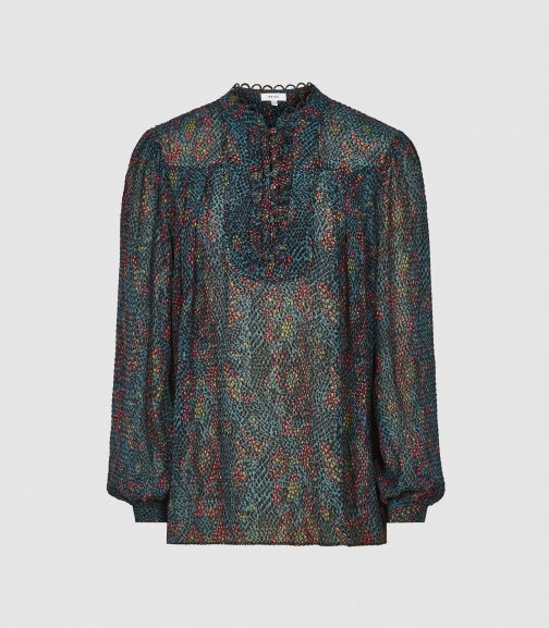 Reiss Gloria - Printed Green, Womens, Size 4 Blouse