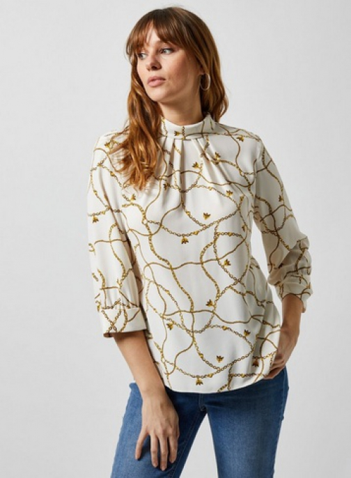 Dorothy Perkins Ivory Bee Chain Print Roll Neck 3/4 Sleeve Blouse