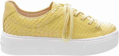 Schutz Shoes Greca Sneaker - 8 New Yellow Snake Embossed Leather Trainer