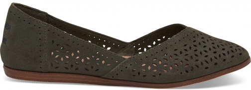 Toms Pine Perforated Suede Womens Jutti Shoes Flats