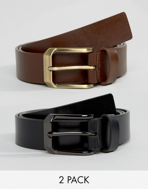 Asos Smith And Canova 2 Pack Leather Black And Brown Belt
