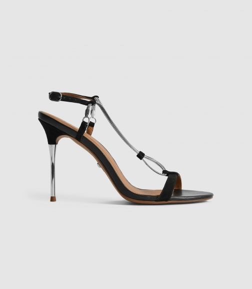 Reiss Kendall - Chain Detail Black, Womens, Size 4 Heeled Sandals