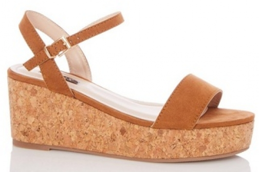 Quiz Wide Fit Tan Suede Wedges Wedge Sandal