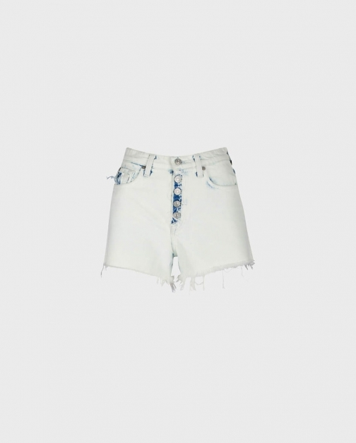7 For All Mankind Womens High Waist Short With Ripped Out Fly & Pockets Ocean Ave Size: 25 Trouser