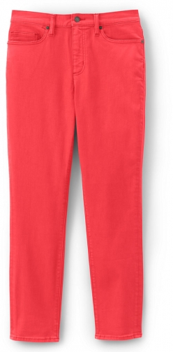 Lands' End Women's High Rise Straight Leg Ankle Crop - Color - Lands' End - Orange - 2 Jeans