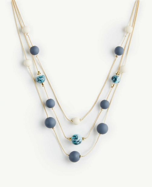 Ann Taylor Matte Beaded Illusion Necklace