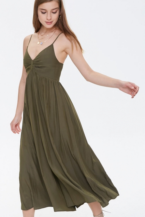 Forever21 Forever 21 Pleated Culotte Cami , Green Jumpsuit