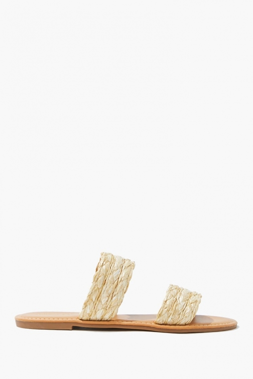 Forever21 Forever 21 Straw Dual-Strap , Natural Sandals