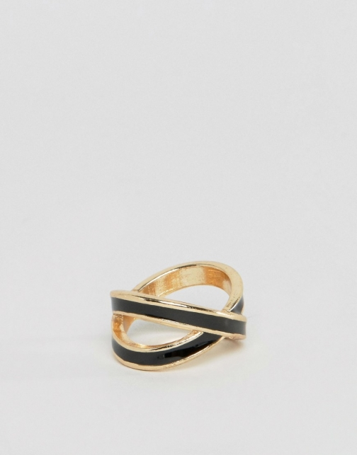 Asos Crossover Gold And Black Ring