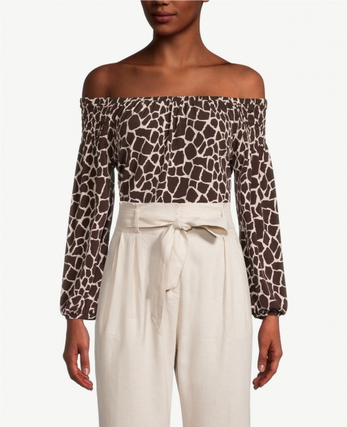 Ann Taylor Factory Giraffe Print Off The Shoulder Top
