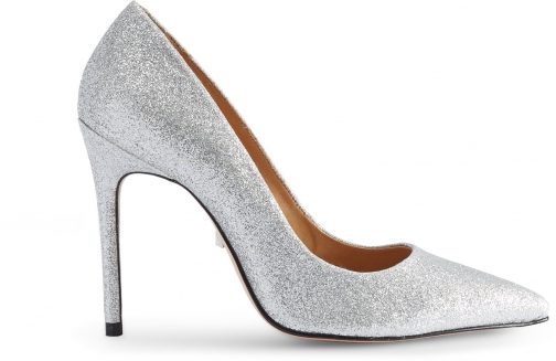 Schutz Shoes Caiolea Pump - 7.5 Prata Silver Glitter Pumps