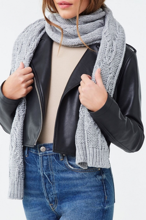 Forever21 Forever 21 Cable Knit Oblong , Heather Grey Scarf