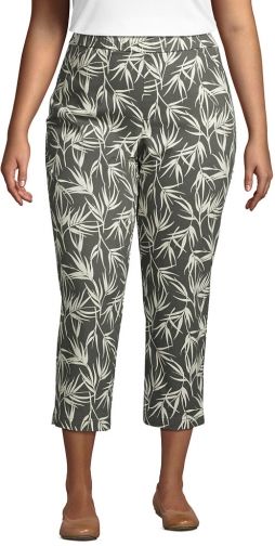 Lands' End Women's Plus Size Mid Rise Pull On Print Crop Pants - Lands' End - Green - 16W Chino