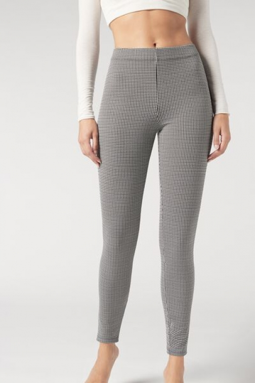 Calzedonia Houndstooth Stretch Woman Grey Size M Legging