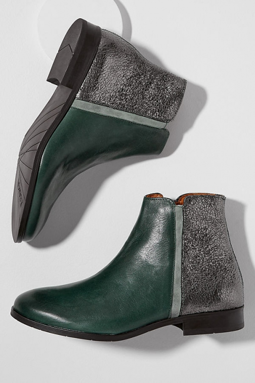 Esska Metallic-Panelled Leather Ankle Boot