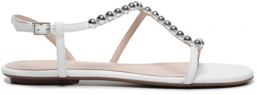 Schutz Shoes Janda Flat Sandal - 5 White Leather Sandals