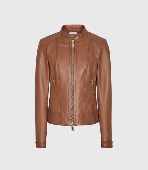 Reiss Fawn - Collarless Leather Tan, Womens, Size 4 Biker Jacket