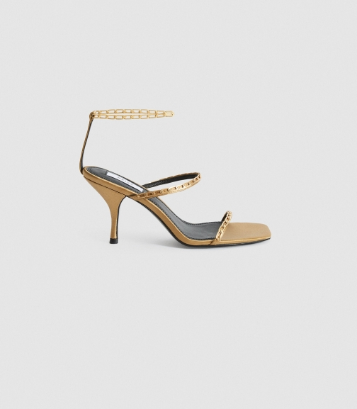 Reiss Magda Chain - Satin Strappy Caramel, Womens, Size 3 Heeled Sandals