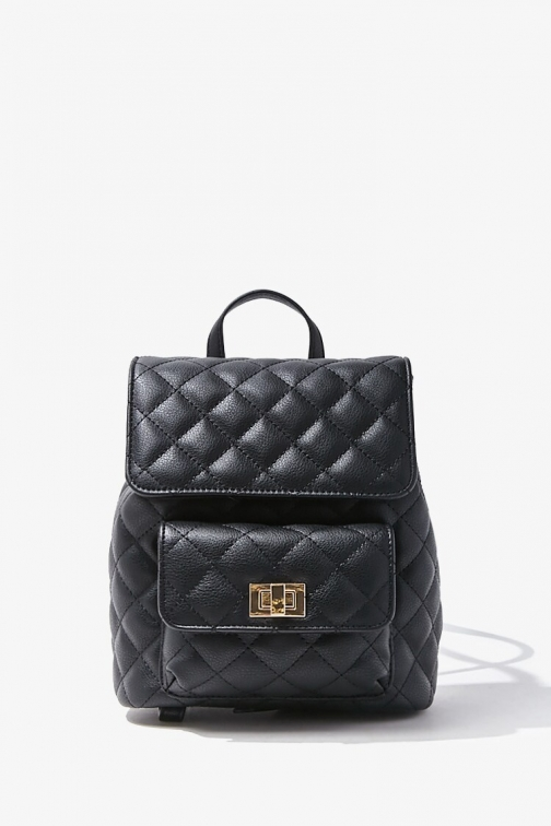 Forever21 Quilted Faux Leather At Forever 21 , Black Backpack