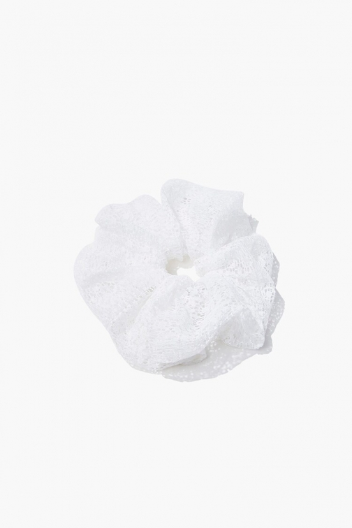 Forever21 Forever 21 Oversized Lace Scrunchie , White Headwear