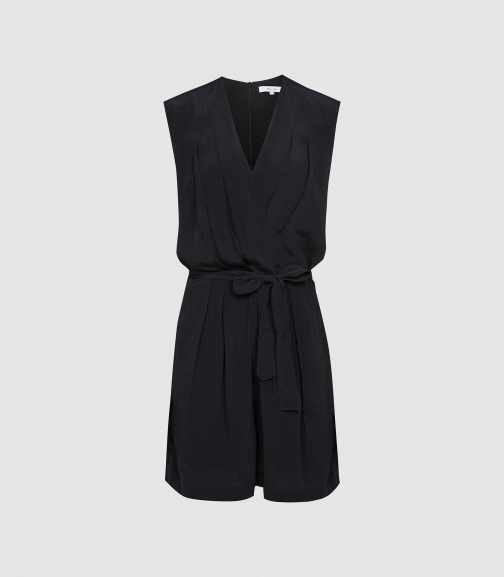 Reiss Lavinia - Wrap Front Black, Womens, Size 4 Playsuit