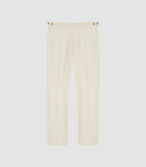 Reiss Rack - Straight Leg Crepe Trousers Stone, Mens, Size 28 Trouser