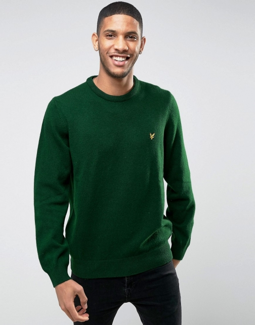 Lyle & Scott Crew Lambswool Green Jumper