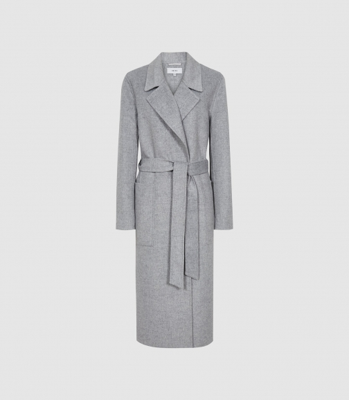 Reiss Millie - Wool Blend Longline Overcoat Grey, Womens, Size 4 Jacket
