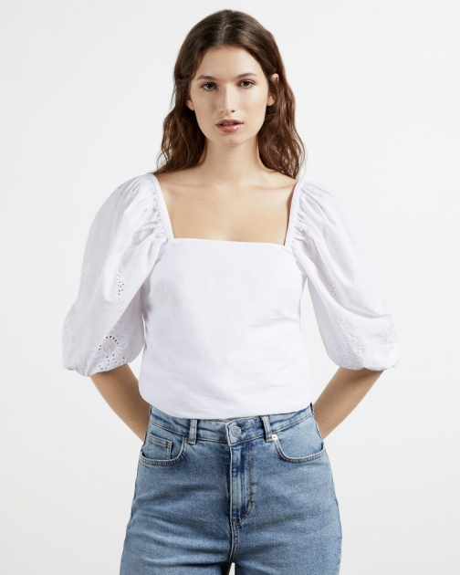 Ted Baker Square Neck Embroidery Sleeve Top