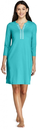 Lands' End Women's V-neck 3/4 Sleeve UV Protection Swim Cover-up Dress Embroidered - Lands' End - Blue - XS Swimwear