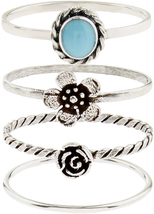 Accessorize Sterling Silver 4 Flower Stacking Ring