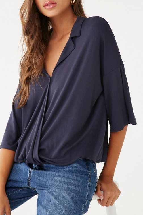 Forever21 Forever 21 Surplice Notched- Top , Navy Collar