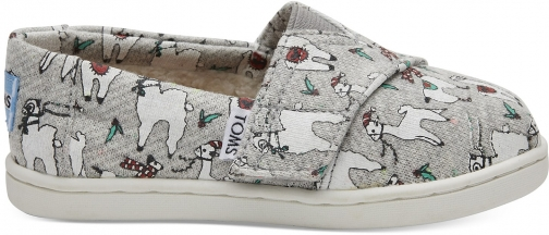 Toms Grey Fleck Jersey Fa-La-Llama Tiny TOMS Classics Slip-On Shoes