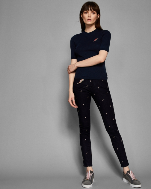 Ted Baker Lightning Embroidery Jeans