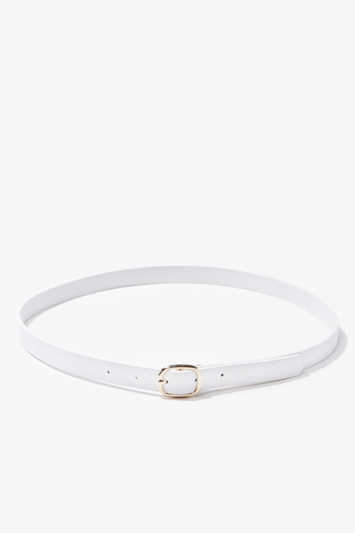Forever21 Forever 21 Skinny Faux Leather Hip , White/gold Belt
