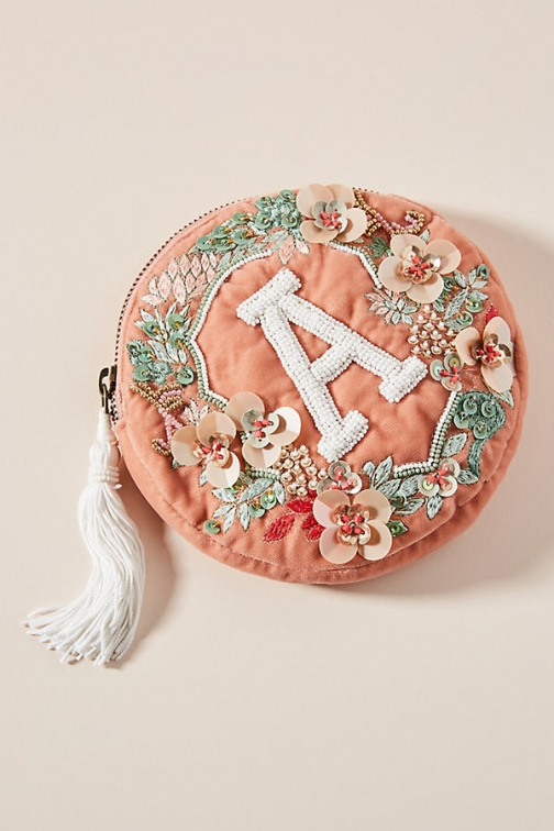 Anthropologie Monogram Crest Pouch