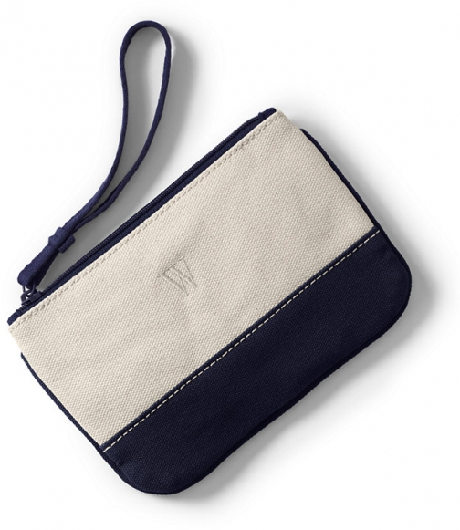 Lands' End Small Solid Canvas Zipper - Lands' End - Ivory Pouch