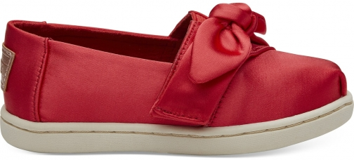 Toms Lava Satin Bow Tiny TOMS Classics Slip-On Shoes