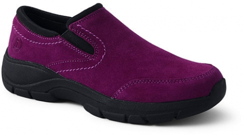 Lands' End Women's All Weather Suede Leather Slip On Moc - Lands' End - Red - 6 Shoes
