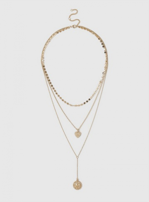 Dorothy Perkins Gold 3 Row Pendant Necklace