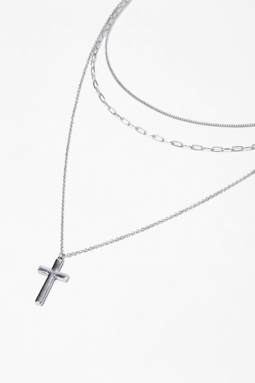 Forever21 Forever 21 Layered Cross Pendant , Silver Necklace