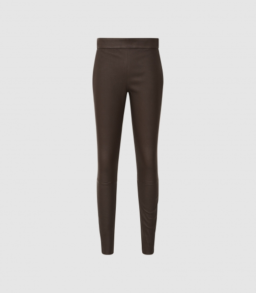 Reiss Goldie - Leather Chocolate, Womens, Size 10 Legging