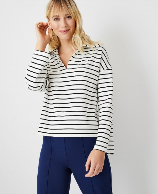 Ann Taylor Petite Striped Collared Sweatshirt