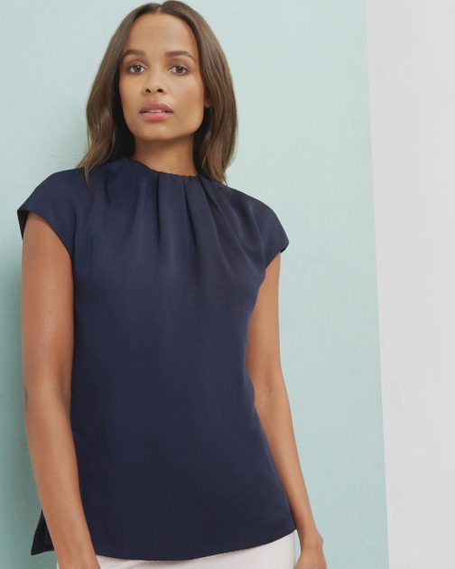 Ted Baker Crepe Gathered High Neck Top Shirt