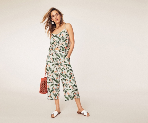 Oasis Delia Palm Print Trousers Trouser
