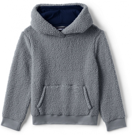 Lands' End Kids Pull Over Sherpa - Lands' End - Gray - S Hoodie