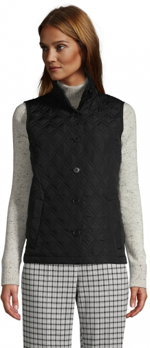 Lands' End Women's Petite Insulated Packable Quilted Barn Vest - Lands' End - Black - XS Top